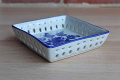 Ceramic Blue and White Square Dish with Flowers and Decorative Cut Out Design