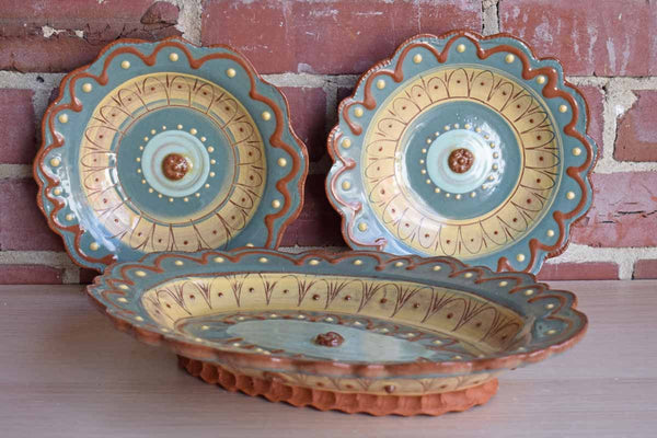 Handmade Ornate Redware Plates, Set of 3