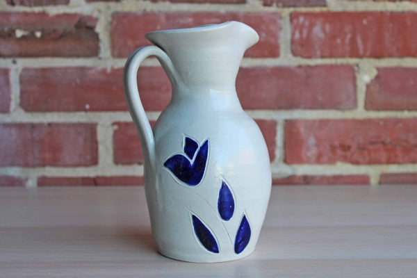 Williamsburg Pottery (Virginia, USA) Little Salt Glazed Handled Pitcher with Incised Blue Flower