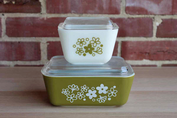Corning Inc. (New York, USA) Pyrex Spring Blossom Glass Lidded Refrigerator Dishes, Two Sizes