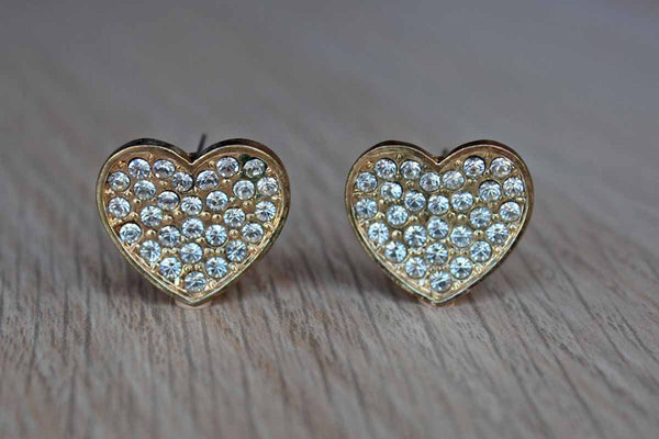 Gold Tone Heart-Shaped Pierced Earrings with Silver Inset Rhinestones