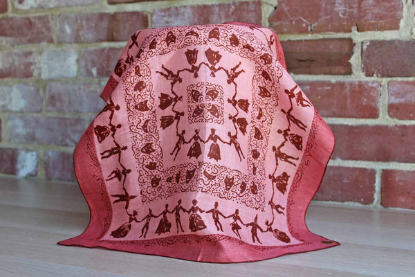 Glamour Girl Pur Irish Linen Handkerchief Decorated with Nineteenth Century Dancers in Silhouette