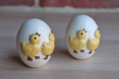 Hand-Painted Ceramic Eggs with Decorative Baby Chicks, A Pair