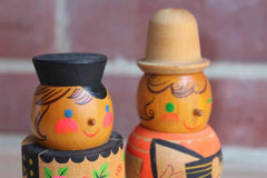 Hand-Painted Colorful Wood Figurines of Musicians, A Pair
