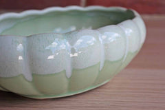 American Bisque Pottery Company (West Virginia, USA) Oval Scalloped Lime Green Drip Glaze Planter
