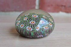 Millefiori Glass Paperweight with Stars and Grass