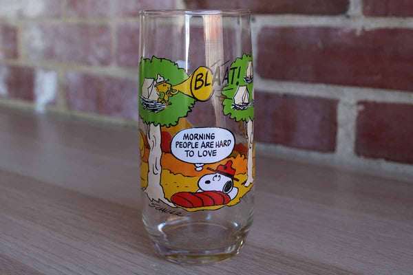 "Camp Snoopy Collection ""Morning People Are Hard To Love"" Drinking Glass"