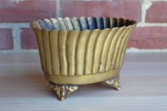 Brass Footed Cachepot with Scalloped Rim
