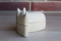 Hand Carved Soapstone Rhinoceros Trinket Box