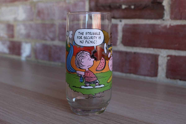 "Camp Snoopy Collection ""The Struggle For Security is no Picnic!"" Drinking Glass"