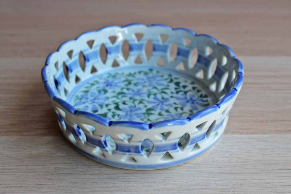 Blue and Green Floral Ceramic Wine Coaster with Open Weave Rim