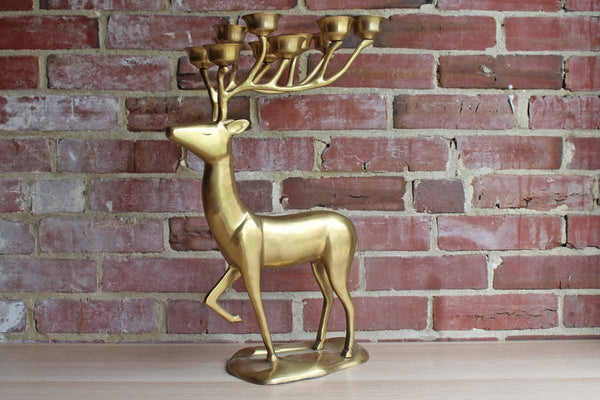 Brass 10 Point Tea Light Reindeer Candelabra Centerpiece
