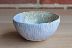 Small Stoneware Bowl with Blue, Purple, and Speckled Gray Glazes in Contrasting Patterns and Textures