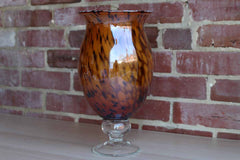 Large Art Glass Murano-Style Pedestal Vase with Tortoiseshell Pattern