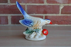Lusterware Ceramic Figurine of a Bird Perched on a Branch