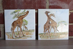 Hand Painted Giraffes on the Savannah in Africa Ceramic Tiles, A Pair