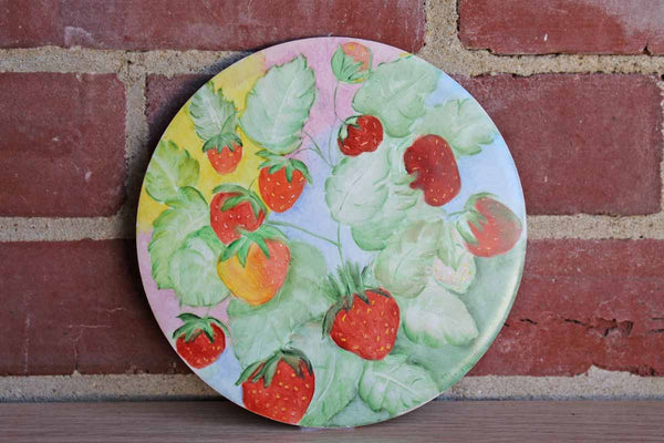 H & R Johnson Ltd. (England) Round Ceramic Tile Depicting a Strawberry Plant