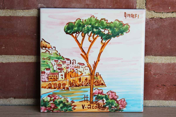 Hand Painted Ceramic Tile Depicting the Amalfi Coast