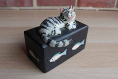 Hand Painted Wooden Hinged Box with Lounging Cat