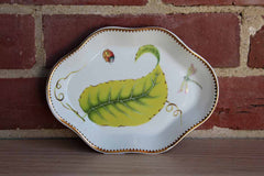 I. Godinger & Co. Gold Trimmed Porcelain Dish Decorated with a Dragonfly, Ladybug and Vibrant Green Leaf