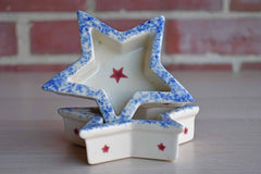 Little Ceramic Star-Shaped Snack Bowls, A Pair
