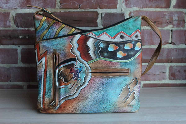 Anuschka (India) Hand-Painted Leather Shoulder Bag