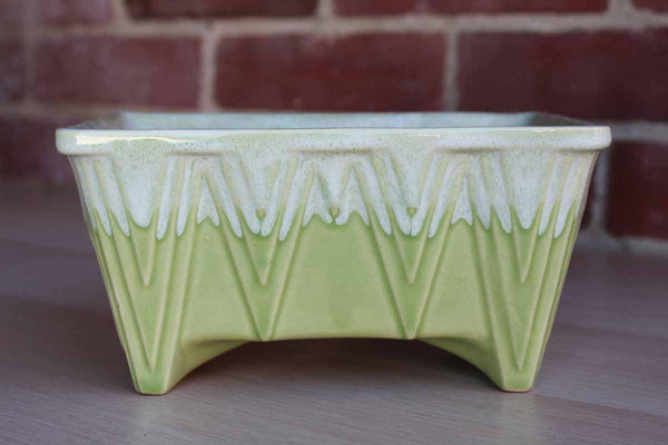 Cookson Pottery (Ohio, USA) Celadon Green Drip Glaze Planter with Striated Diamond Pattern