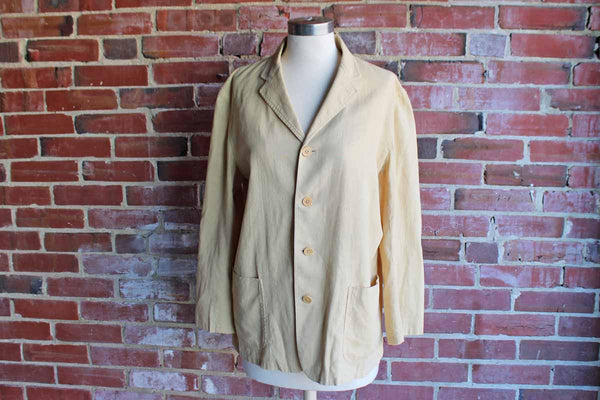 Ralph Lauren (USA) Light Cotton Linen Gold Blazer, Size 10
