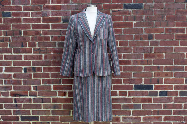 Barclay Square (USA) Matching Striped Wool Skirt and Blazer
