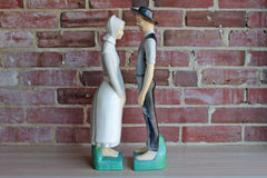 Hand Painted Ceramic Bisque Tall Amish Couple