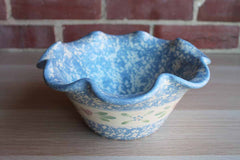 Heavy Ceramic Blue Spongeware Wavy-Rimmed Bowl with Repeating Band of Hearts and Flowers