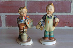 Lefton's China (Japan) Porcelain Hand-Painted Figurines of Boy Artist and Boy Holding Shoes