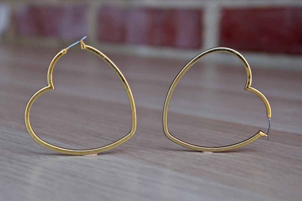 Gold Tone Heart-Shaped Pierced Earrings