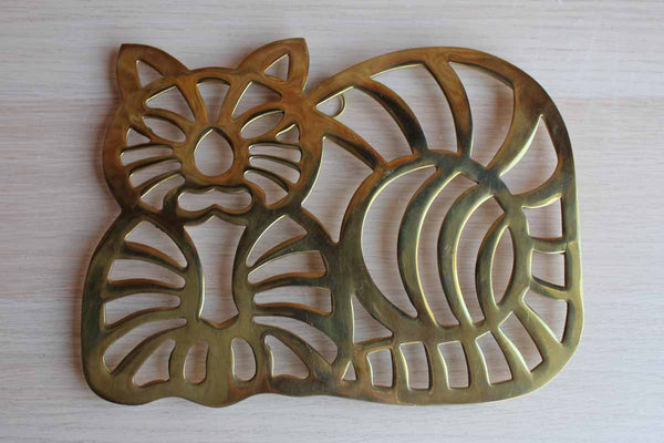 Sitting Cat-Shaped Brass Trivet