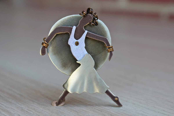 Handmade Metal Brooch of a Dancing Woman