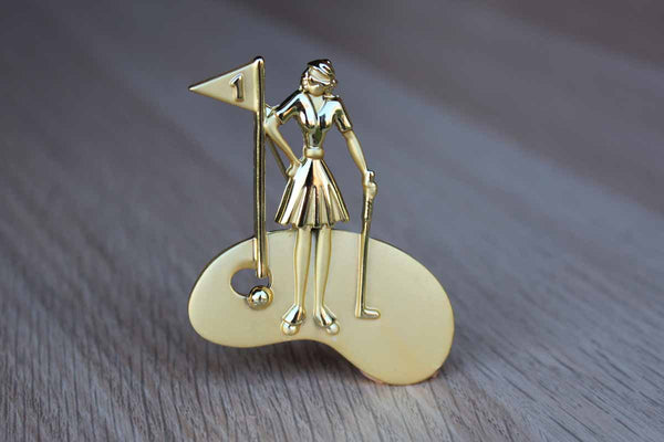 AJC Jewelry (New York, USA) Gold Tone Woman Golfer Brooch