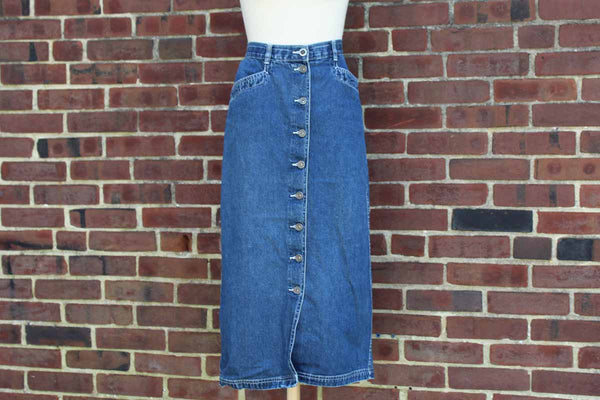 Christopher & Banks Long Denim Skirt with Buttons Up the Front, Size 6