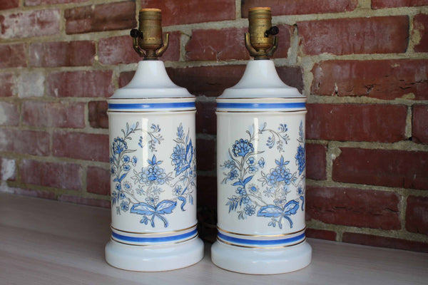 Matching Pair of Ceramic Lamps Painted with Blue Flowers