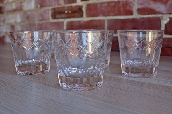 Clear Etched Crystal Cocktail Glasses with Etched Crosshatch and Impressed Designs, 6 Pieces