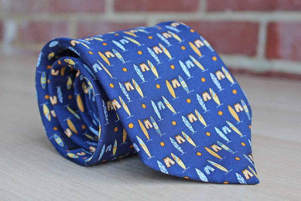 Brooks Brothers (New York, USA) Silk Necktie with Surf Boards and Board Shorts