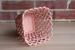 GoodFriend Pottery (Spain) Pink Rope Weave Cachepot