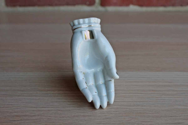 Miniature Porcelain Hand with Gold Painted Accents, Made in Japan