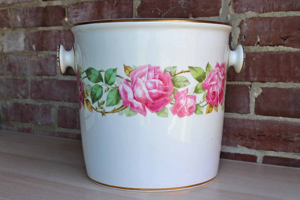 Spode (Copeland's China England) T. Goode & Co. Large Porcelain Cachepot with Pink Roses
