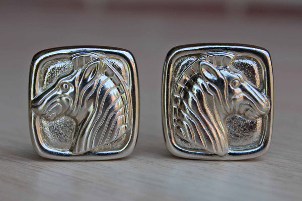 Bold Silver Tone Zebra Pierced Earrings