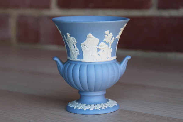 Wedgwood (England) Small Urn-Shaped Blue Jasperware Bud Vase
