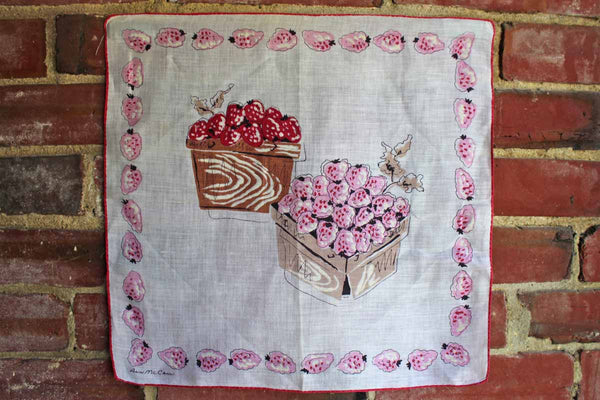 Pure Linen Handkercheif Decorated with Cartons of Berries by Ann McCann
