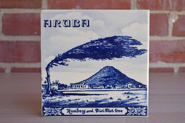 Delft's Blauw (Holland) Hand-Painted Tile of Images of Aruba's Hooiberg Volcano & Divi Divi Tree