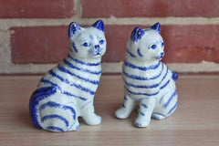 Ceramic Blue and White Cat Statues, A Pair