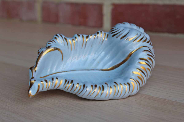 Ceramic Feather-Shaped Blue Dish with Gold Accents