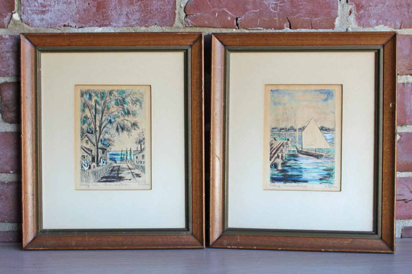 Signed Lithographs of Provincetown by E. Oliver